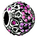 Chamilia Sterling Silver Pink Crystal Captured Hearts Bead - Product number 8642176