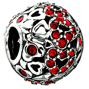 Chamilia sterling silver red captured hearts bead - Product number 8642494