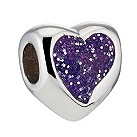 Miss Chamilia sterling silver purple glitter heart bead - Product number 8642699
