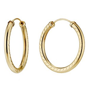 9ct Yellow Gold Diamond Cut Hoop Earrings - Product number 8643687