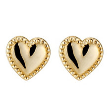 9ct Yellow Gold Heart Stud Earrings - Product number 8643911