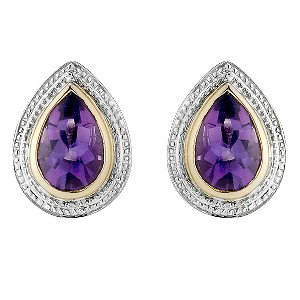 Silver & 9ct Yellow Gold Amethyst Tear Drop Stud Earrings - Product number 8644136