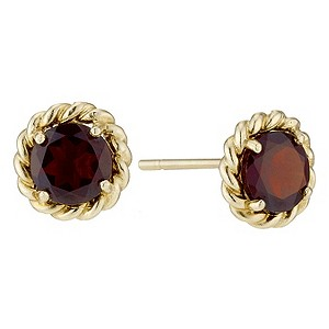 9ct Yellow Gold and Garnet Round Stud Earrings