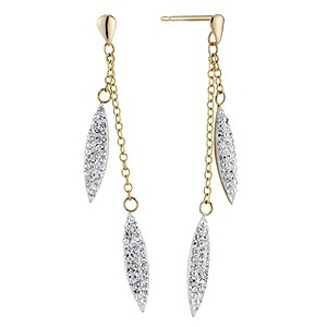 9ct Yellow Gold Crystal Needle Drop Earrings - Product number 8644268