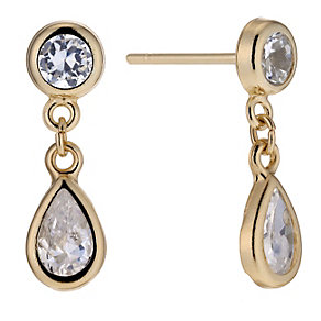 9ct Yellow Gold Cubic Zirconia Drop Earrings - Product number 8644276
