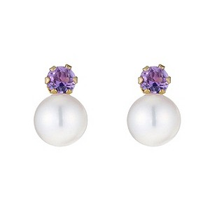 9ct Gold Amethyst and Cultured Freshwater Pearl