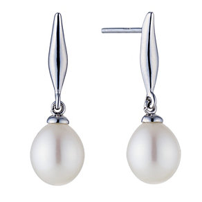Silver Cultured Fresh Water Pearl Drop Earrings - Product number 8644594