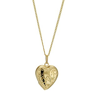 9ct Rolled Gold Diamond Cut Heart Locket