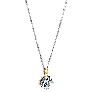 Silver & 9ct Yellow Gold Cubic Zirconia Wrap Pendant - Product number 8644926