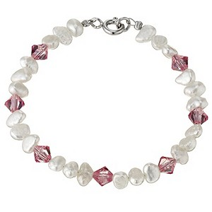 Children's Silver Cultured Fresh Water Pearl Pink Bracelet - Product number 8645035