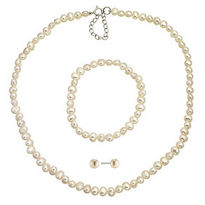 Children's Silver & White Cultured Freshwater Pearl Set - Product number 8645086