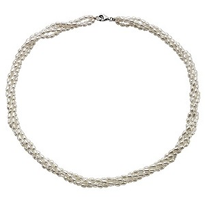 Silver Four Strand Cultured Freshwater Pearl Necklace