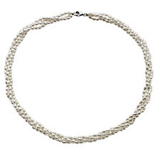 Silver Four Strand Cultured Freshwater Pearl Necklace - Product number 8645175