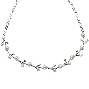 Silver Cubic Zirconia & Pearl Detailed Necklace - Product number 8645183