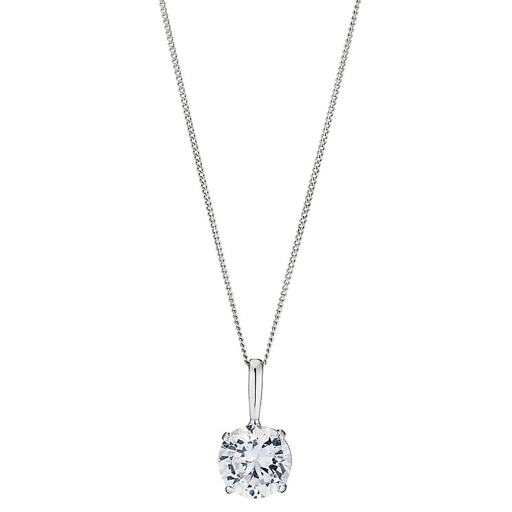 9ct White Gold Cubic Zirconia Round Pendant - Product number 8645418