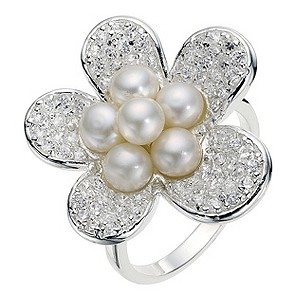 Sterling Silver Cubic Zirconia Pearl Flower Ring