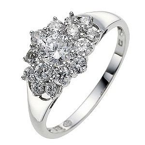 9ct White Gold Cubic Zirconia Cluster Ring - Product number 8646503