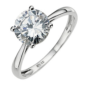 9ct White Gold Cubic Zirconia Solitaire Ring - Product number 8646651
