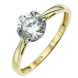 9ct Yellow Gold Cubic Zirconia Solitaire Ring - Product number 8646937