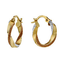 9ct Three Colour Gold Twist Creole Earrings - Product number 8647429