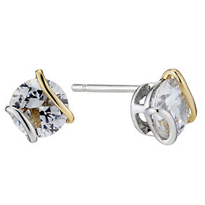 Silver & 9ct Yellow Gold Wrap Cubic Zirconia Stud Earrings - Product number 8647674
