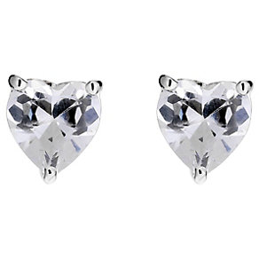 Silver Cubic Zirconia Heart Stud Earrings - Product number 8648174