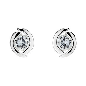 Silver Cubic Zirconia Round Stud Earrings - Product number 8648182