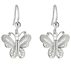 Silver Butterfly Drop Earrings - Product number 8648298