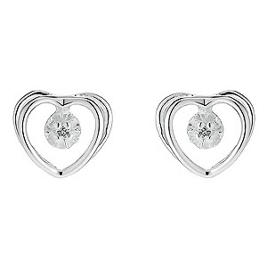 Silver Heart Cubic Zirconia Earrings - Product number 8648344
