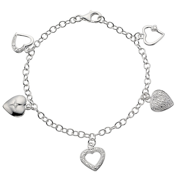 Silver Heart Charm Bracelet - Product number 8648999