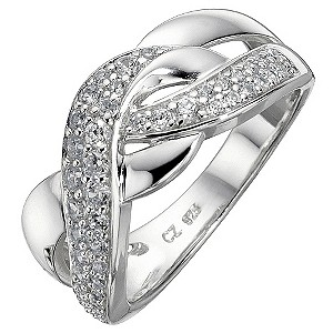 Silver Cubic Zirconia Weave Ring - Size N