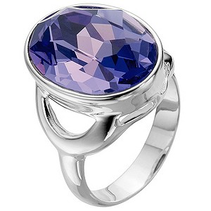 Silver Purple Crystal Ring - Size L