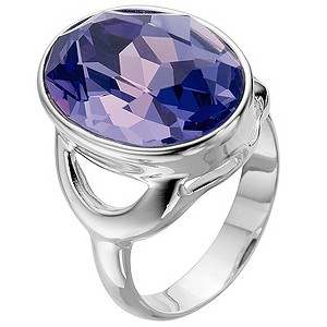 Silver Purple Crystal Ring - Size N