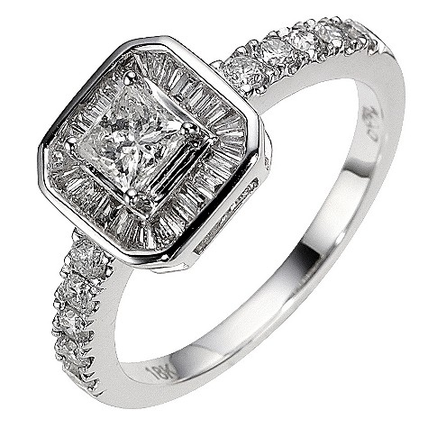 18ct white gold 1 carat diamond halo ring