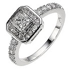 18ct white gold 1 carat diamond halo ring - Product number 8649375