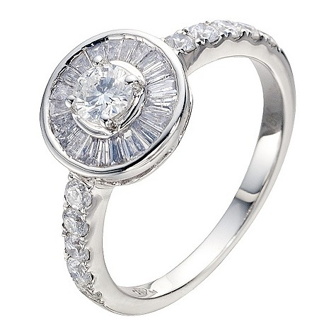 18ct white gold one carat diamond cluster ring
