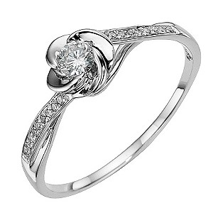 9ct white gold flower 1/5 carat diamond solitaire ring - Product number 8649642