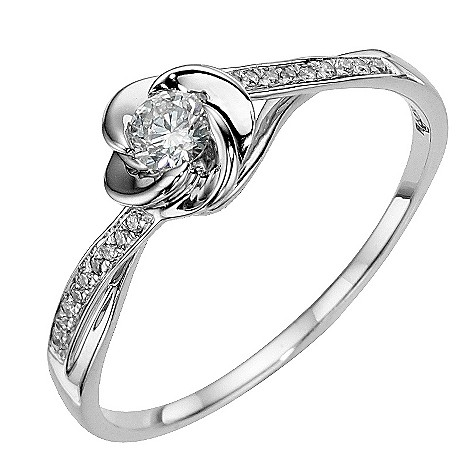 9ct white gold flower 1/5 carat diamond solitaire ring