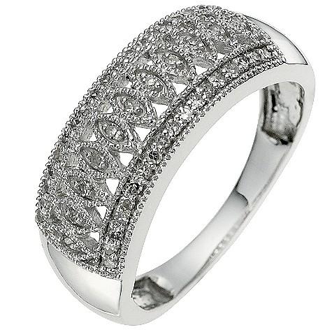 9ct white gold vintage 0.15 carat diamond ring