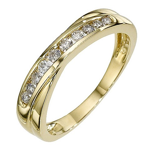 9ct yellow gold 1/4 carat diamond crossover ring
