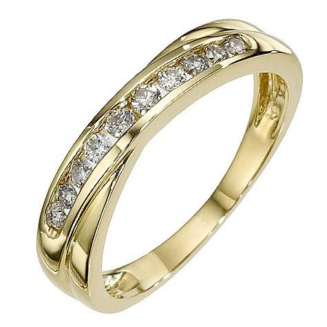 9ct yellow gold 1/4 carat diamond crossover ring