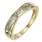 9ct yellow gold 1/4 carat diamond crossover ring - Product number 8650578