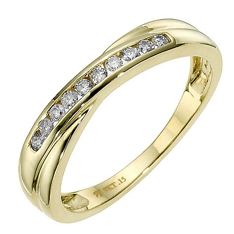9ct yellow gold diamond cross over eternity ring
