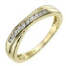 9ct yellow gold diamond crossover eternity ring - Product number 8650691