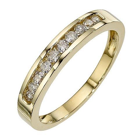 9ct yellow gold 1/4 carat diamond ring