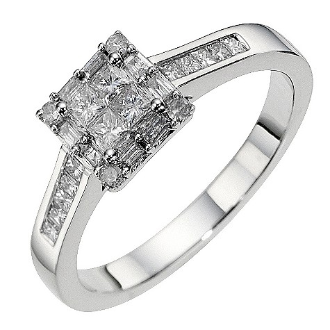 18ct white gold half carat square cluster ring