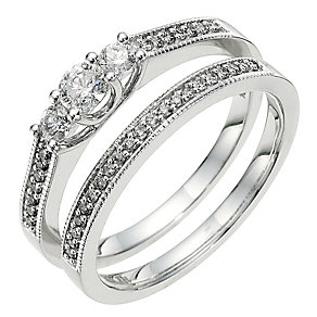 18ct white gold half carat diamond bridal set - Product number 8651450