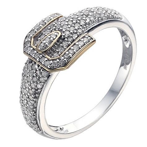 9ct white gold third carat diamond buckle ring