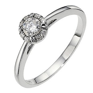 18ct white gold halo 0.25ct diamond solitaire ring - Product number 8652260