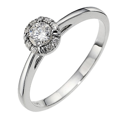 18ct white gold halo 1/4 carat diamond solitaire ring